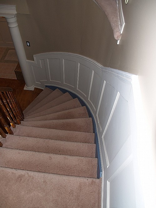 Recessed Panel On Curved Stairs I Elite Trimworks
