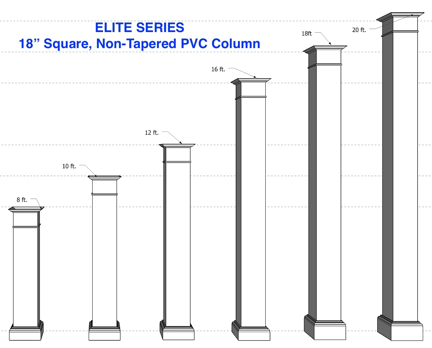 "18"" x 18"" Smooth, Non-Tapered PVC Column"
