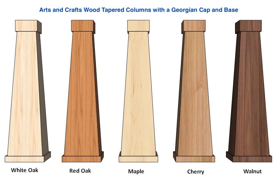 Wood Tapered Arts And Crafts Or Craftsman Columns I Elite