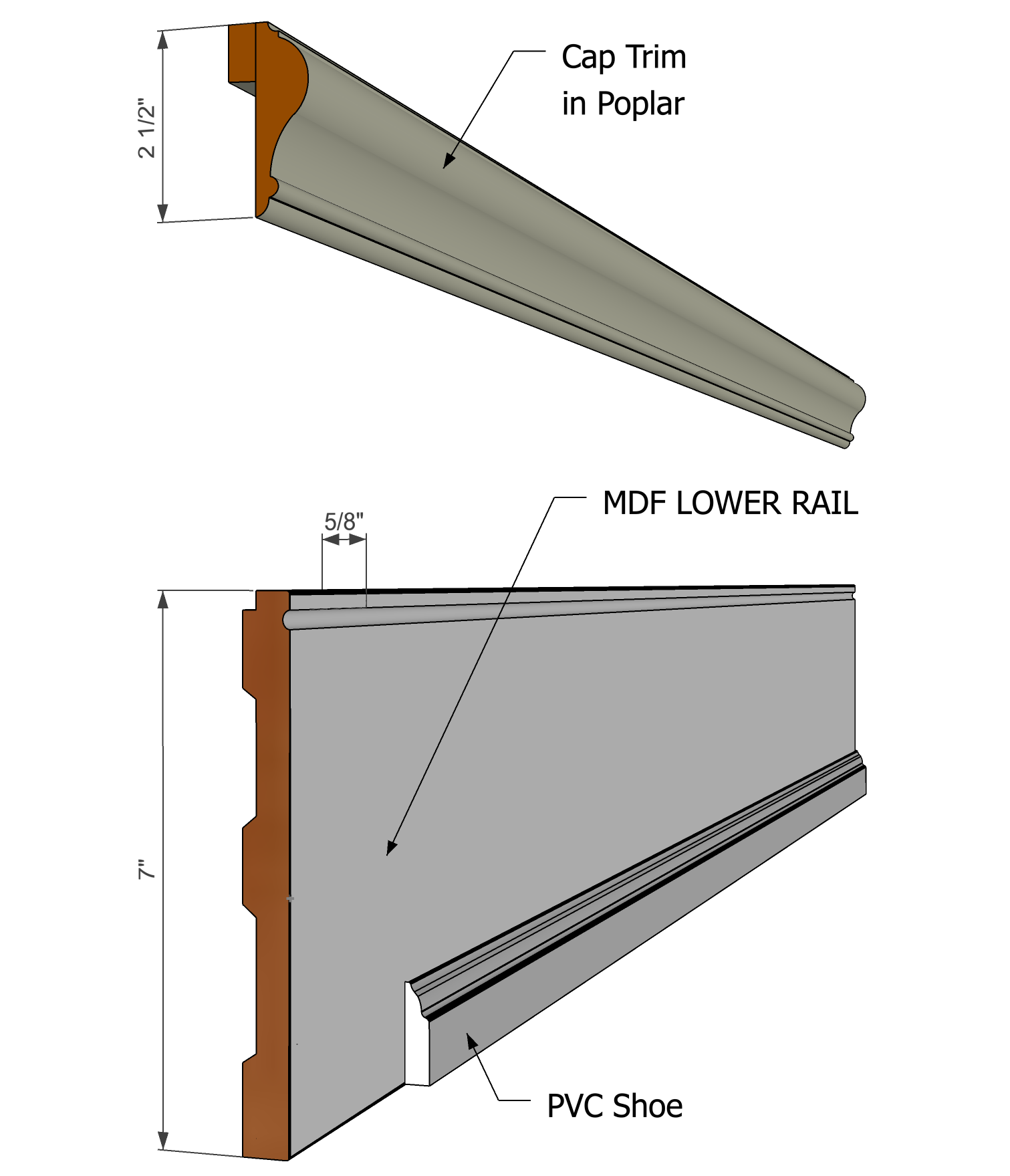 Beadboard Rail Pack - Paint Grade