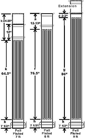 traditional square wood column fluted i elite trimworks