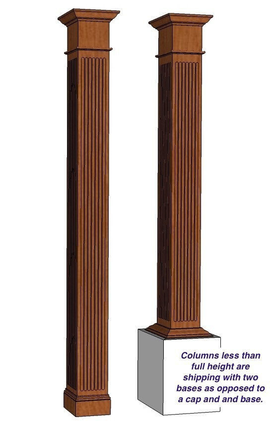 Square fluted hardwood column i elite trimworks for Interior square columns