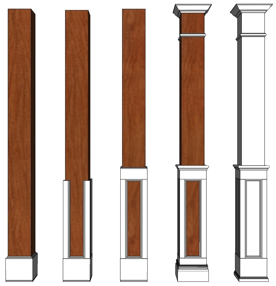 Square Half Fluted Recessed Paneled Column Paint Grade I