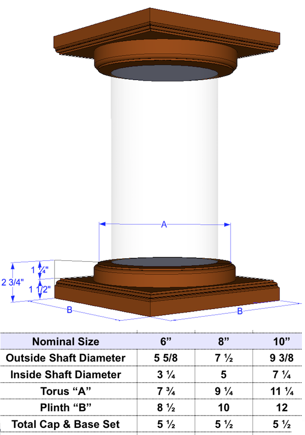 Round, Smooth, Wood, Non-Tapered Column 12""