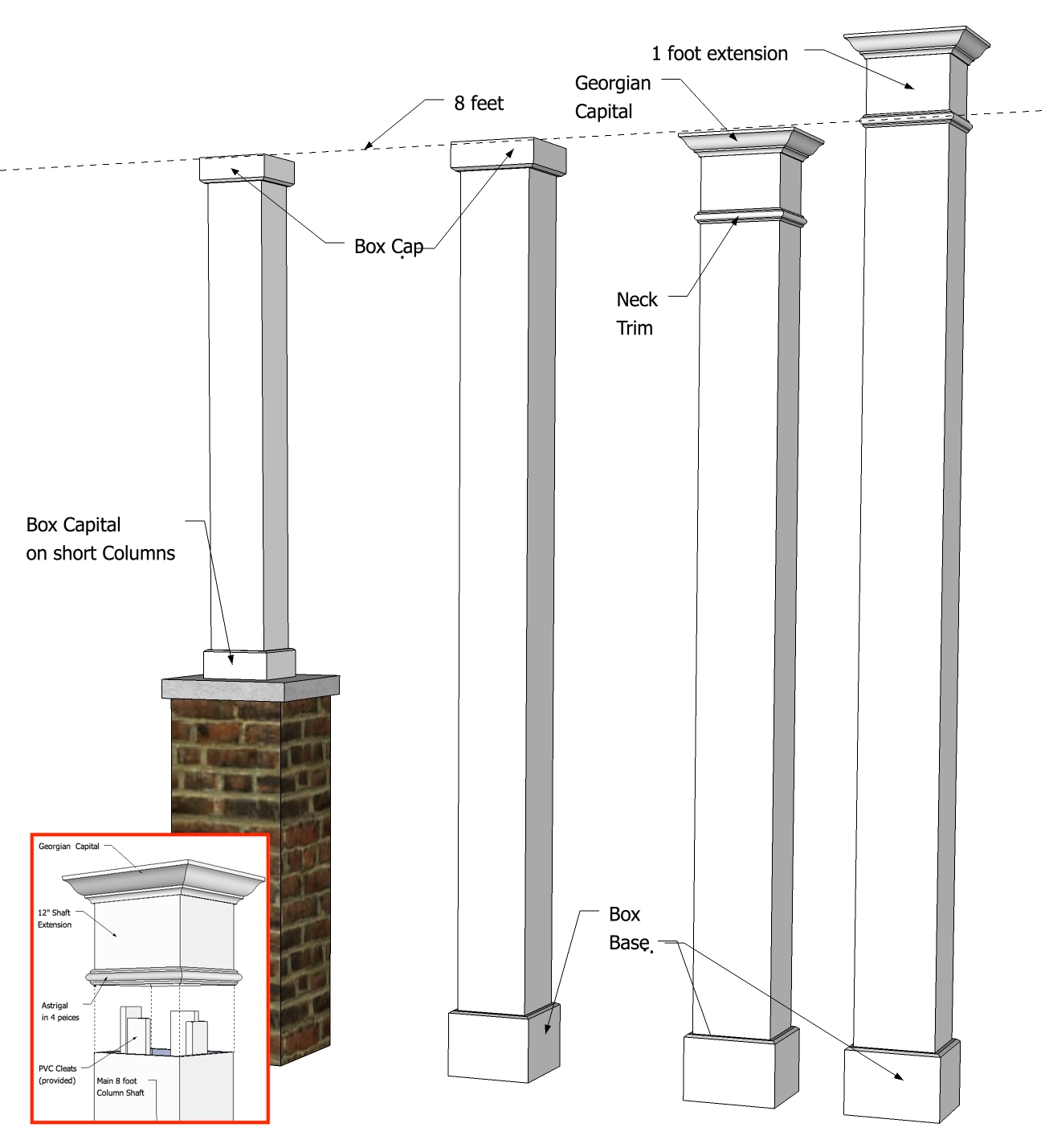 "8"" x 8""  Smooth, Non-Tapered PVC Column"