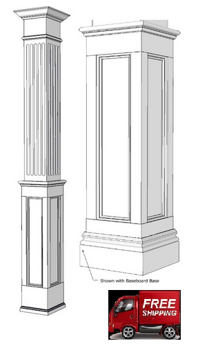 Square, Wood, Half FLUTED Recessed Paneled Column,  Paint Grade