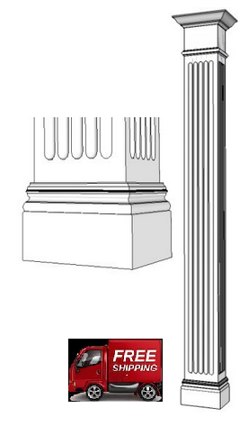 Traditional, Square, Wood Column   Fluted