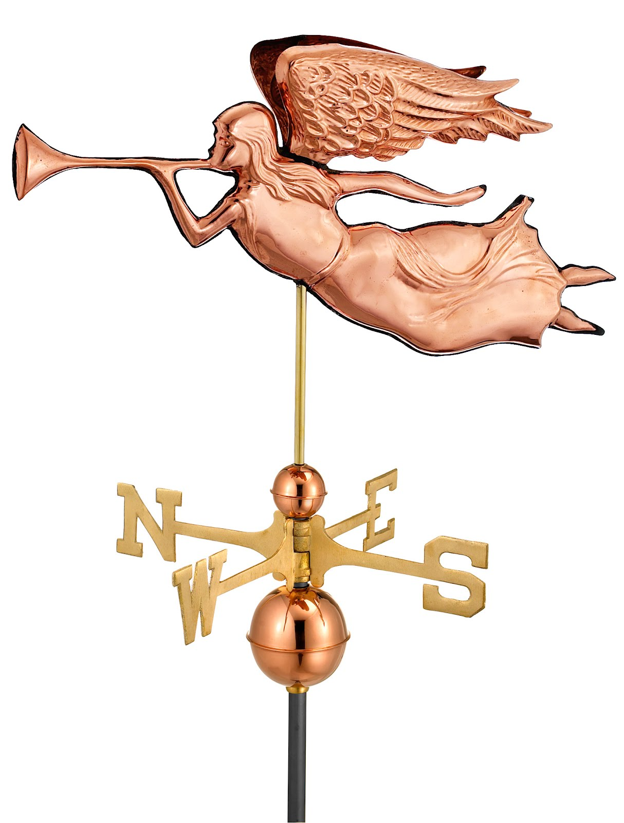 "27"" Polished Copper Angel Weathervane (Figure Only)"