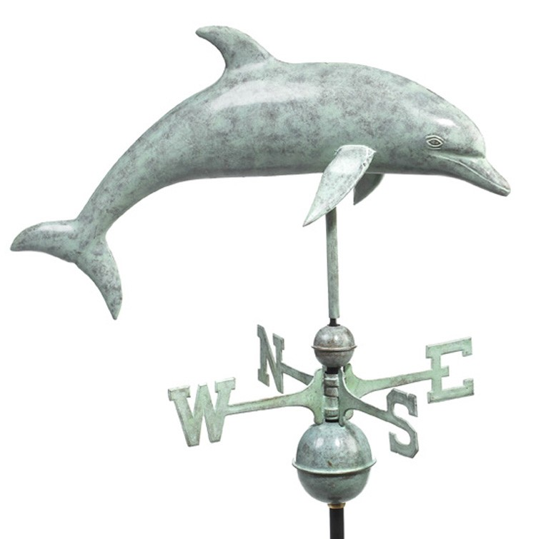 "27"" Blue Verde Copper Dolphin Weathervane"