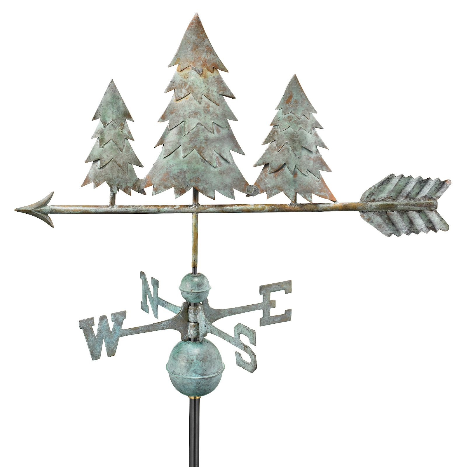 "31"" Blue Verde Copper Pine Trees Weathervane (Figure Only)"