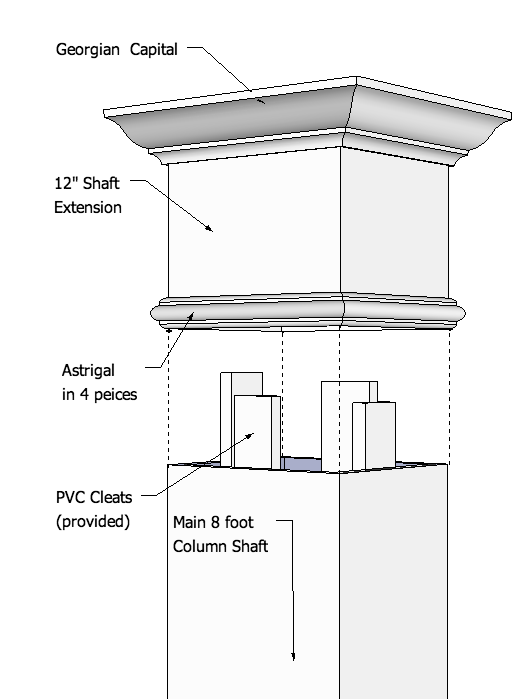 Smooth, PVC Column Extension