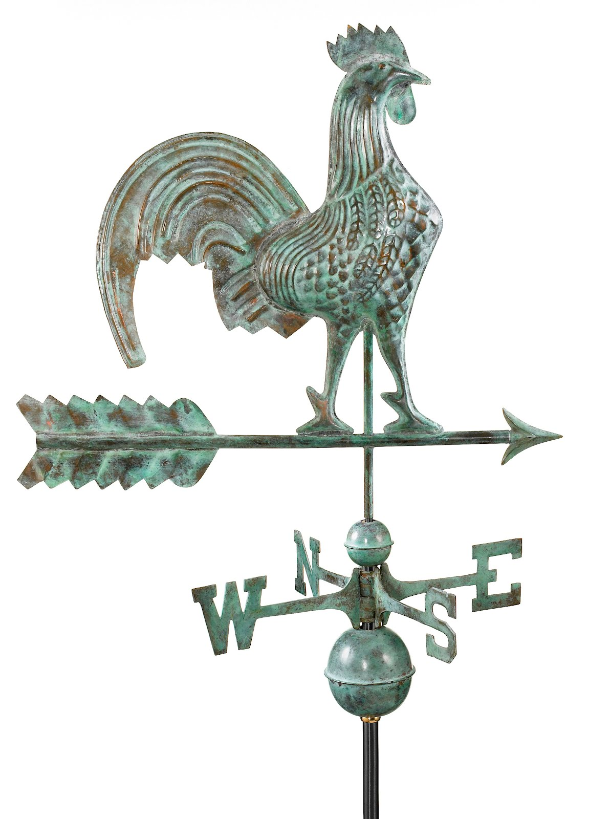 "25"" Blue Verde Copper Rooster Weathervane"