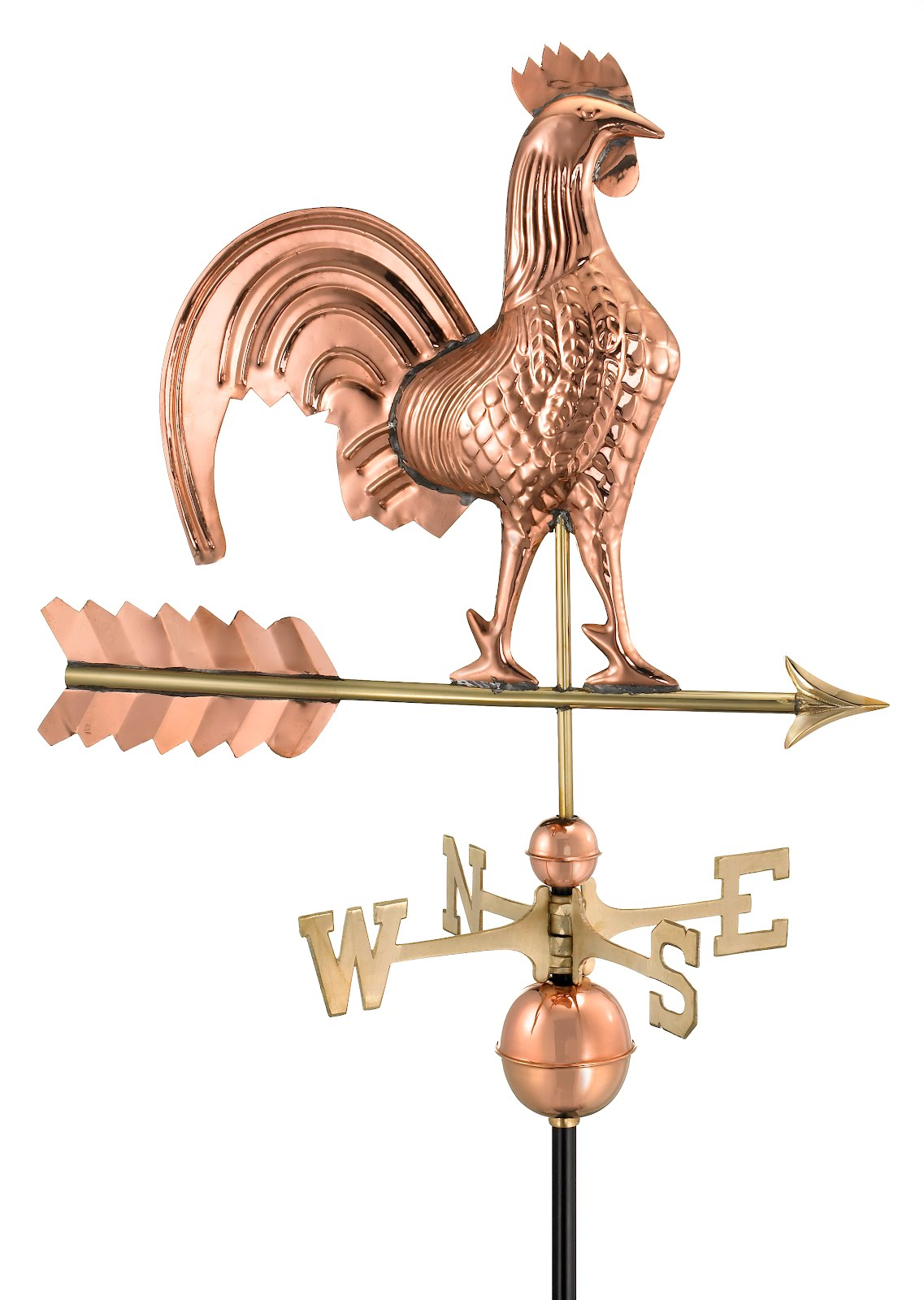 "25"" Polished Copper Rooster Weathervane (Figure Only)"