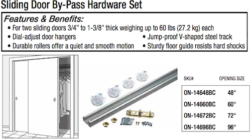Sliding By-Pass Hardware Set