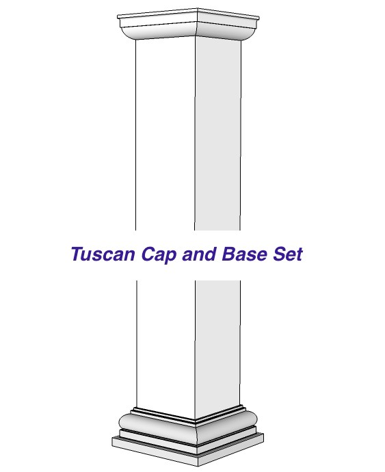 Square, Tuscan, Non-Tapered, Base & Capital Set