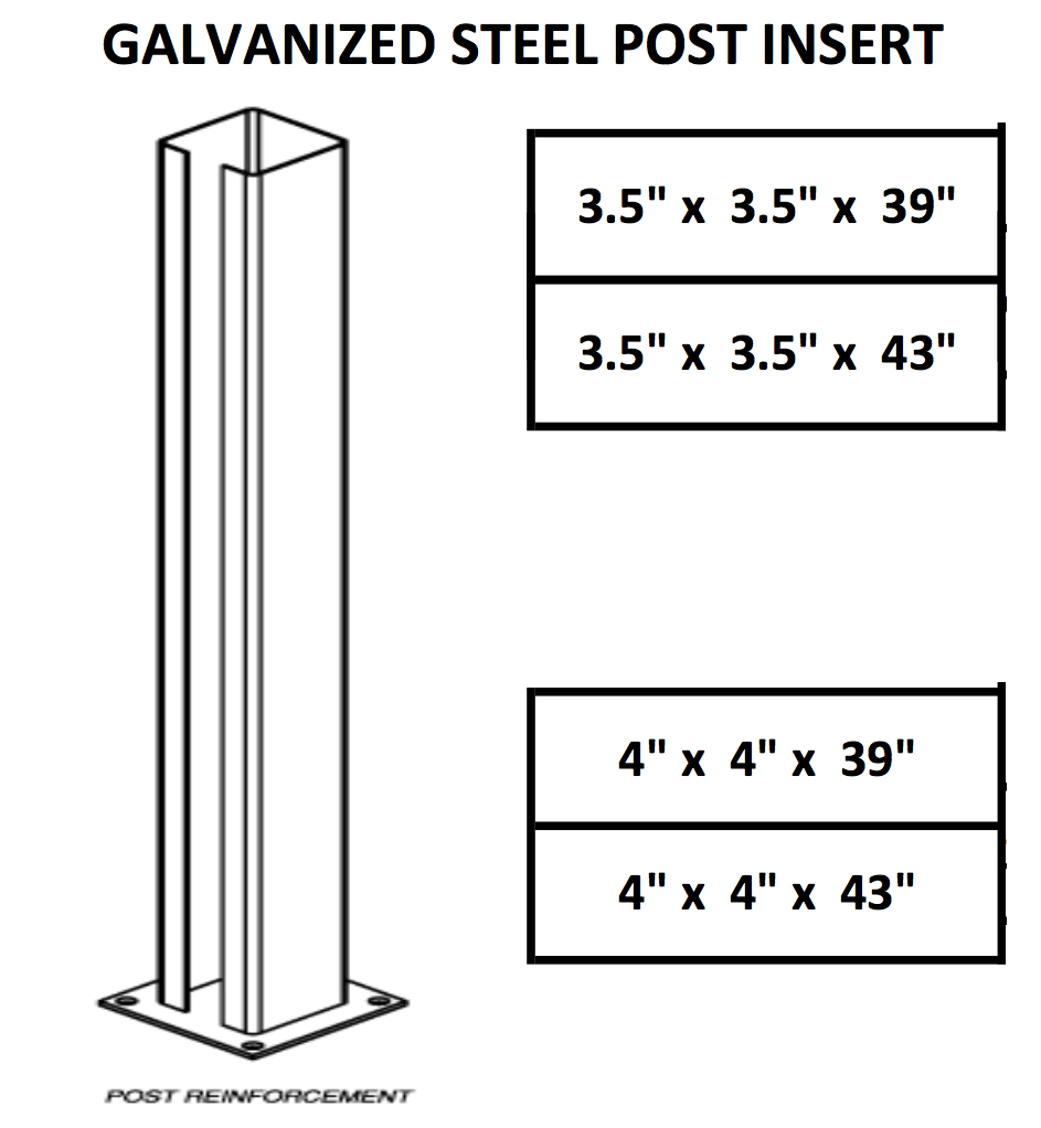 Galvanized Steel Post Insert I Elite Trimworks