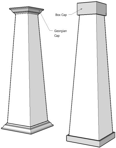 Arts crafts square tapered column 12 x 8 x 48 high in for Mdf square columns