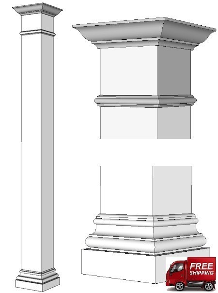 Square Column Trim : Tuscan square wood column i elite trimworks