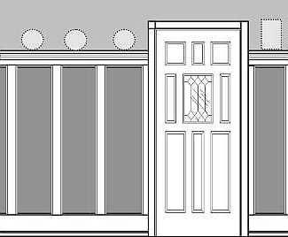 "Recessed Paneled Wainscot Kit, 72"" high with Cornice or Brackets"