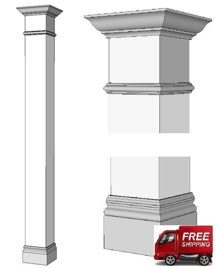 Square Column Trim : Traditional square wood column i elite trimworks