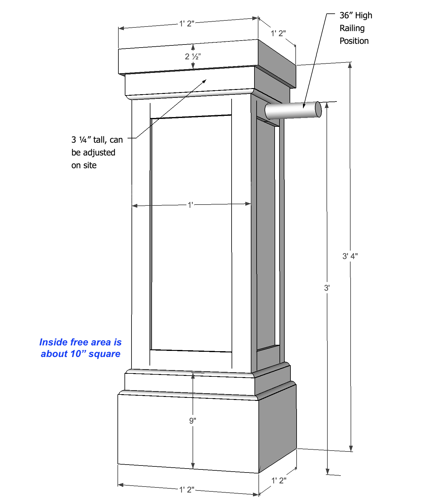 PVC Combination Column Wrap / Tall Shaker Pedestal
