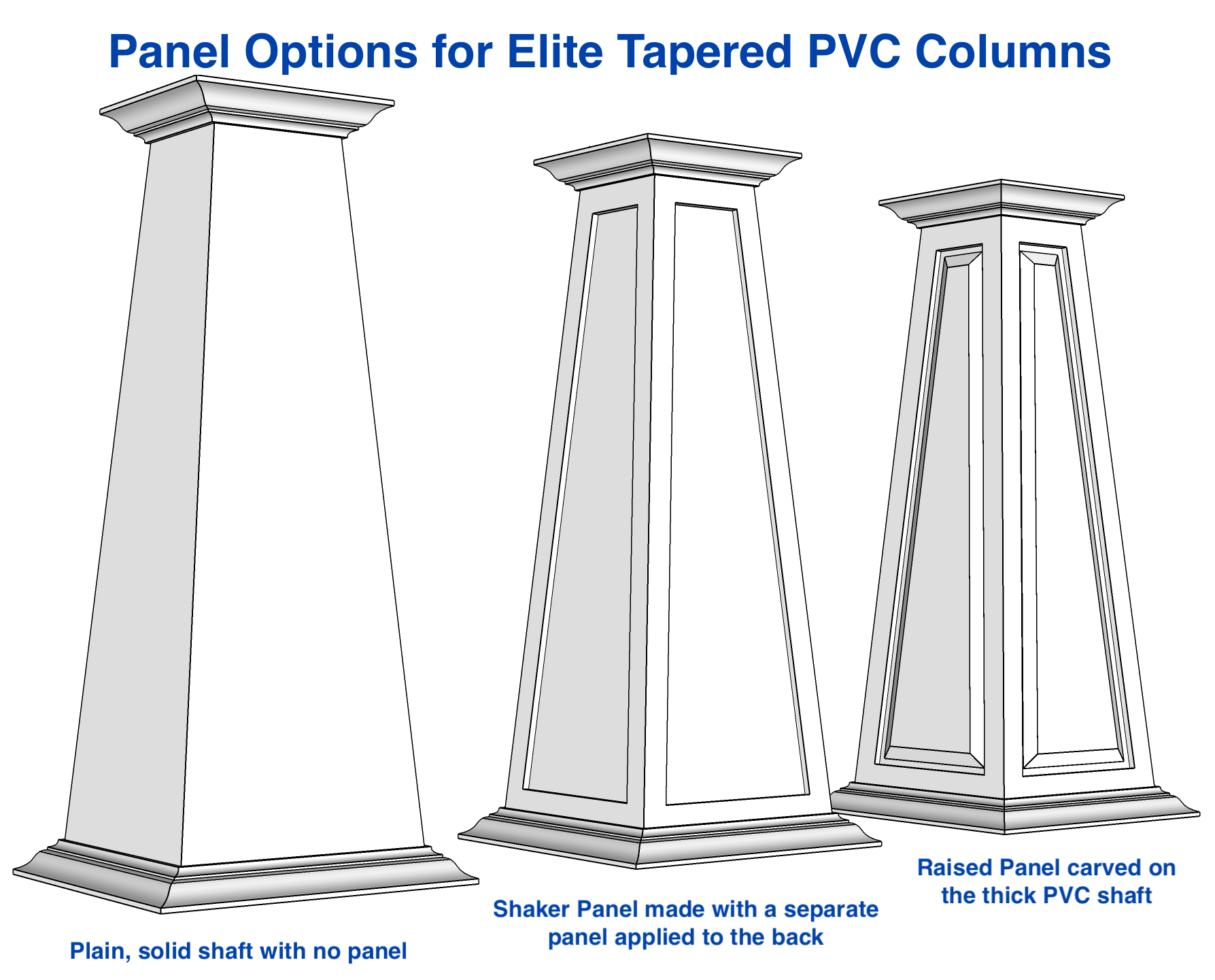 12/20 RAISED Panel Tapered PVC Column Wrap