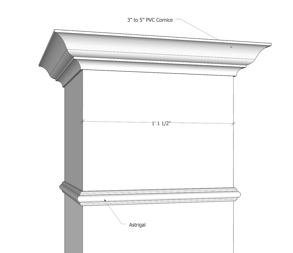 "14"" x 14"" Smooth, Non-Tapered PVC Column"