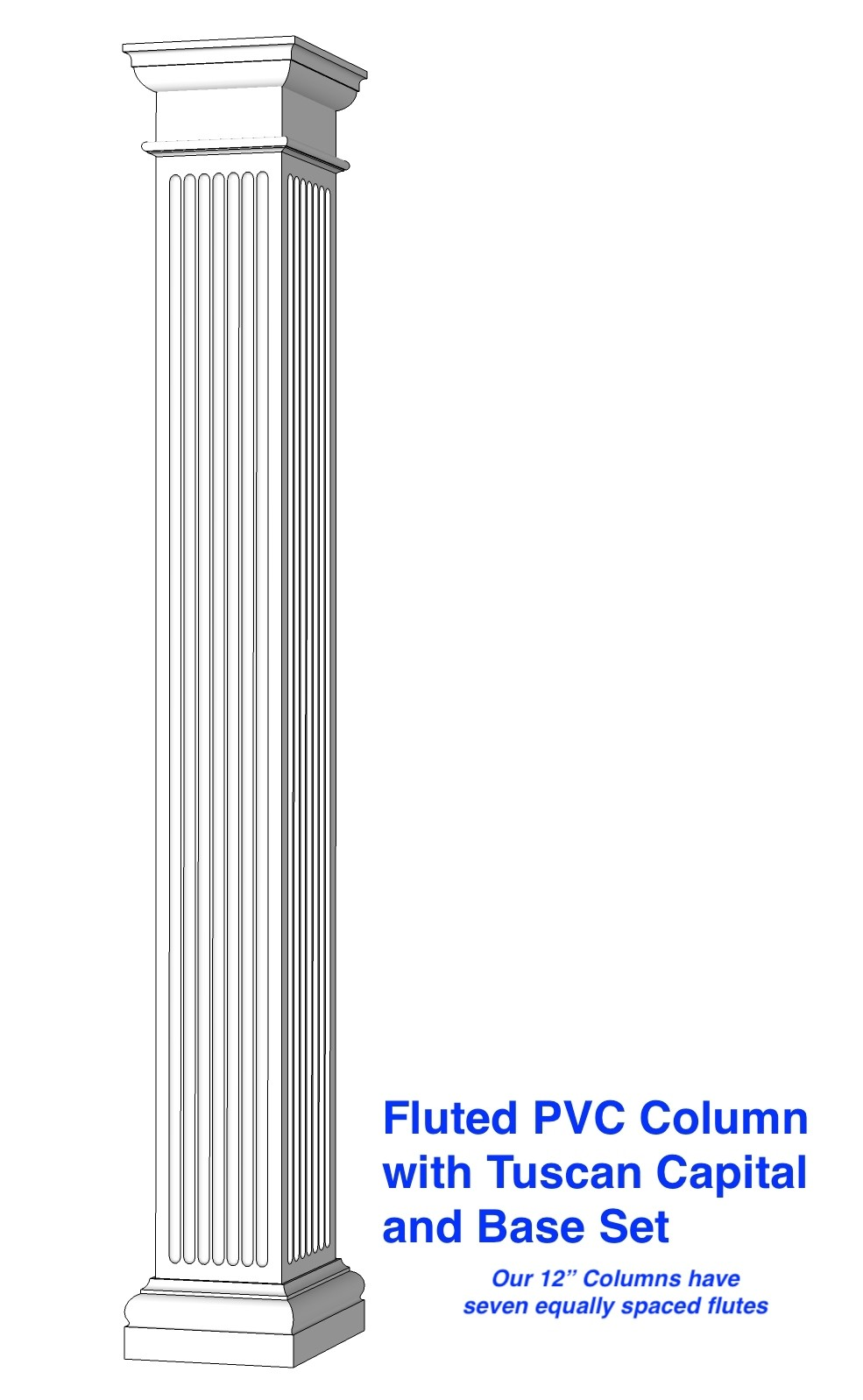 "12"" FLUTED PVC Column"