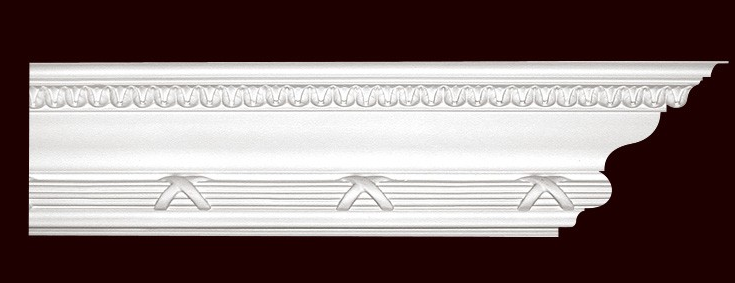 "8"" Polyurethane Ribbon and Reed Cornice 12ft"