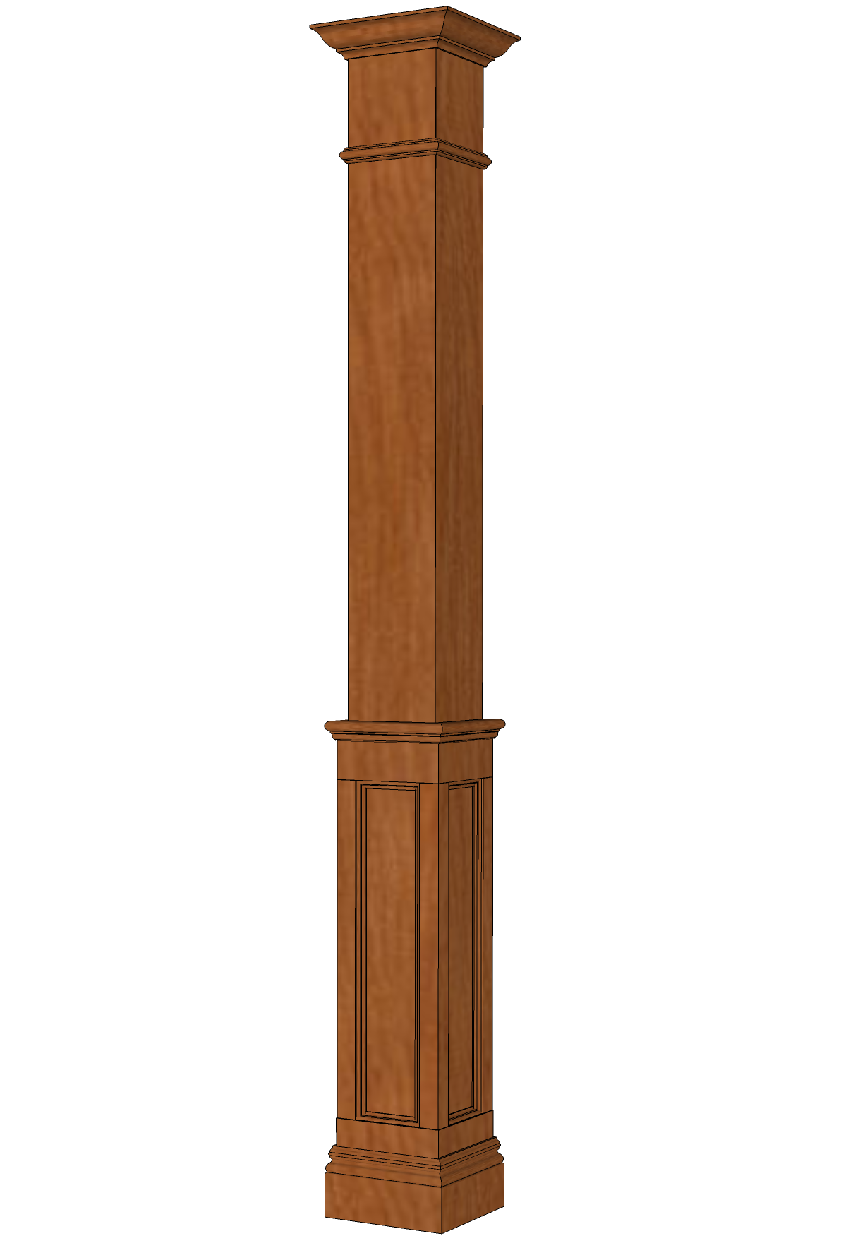 Square HALF Recessed Paneled Hardwood Column