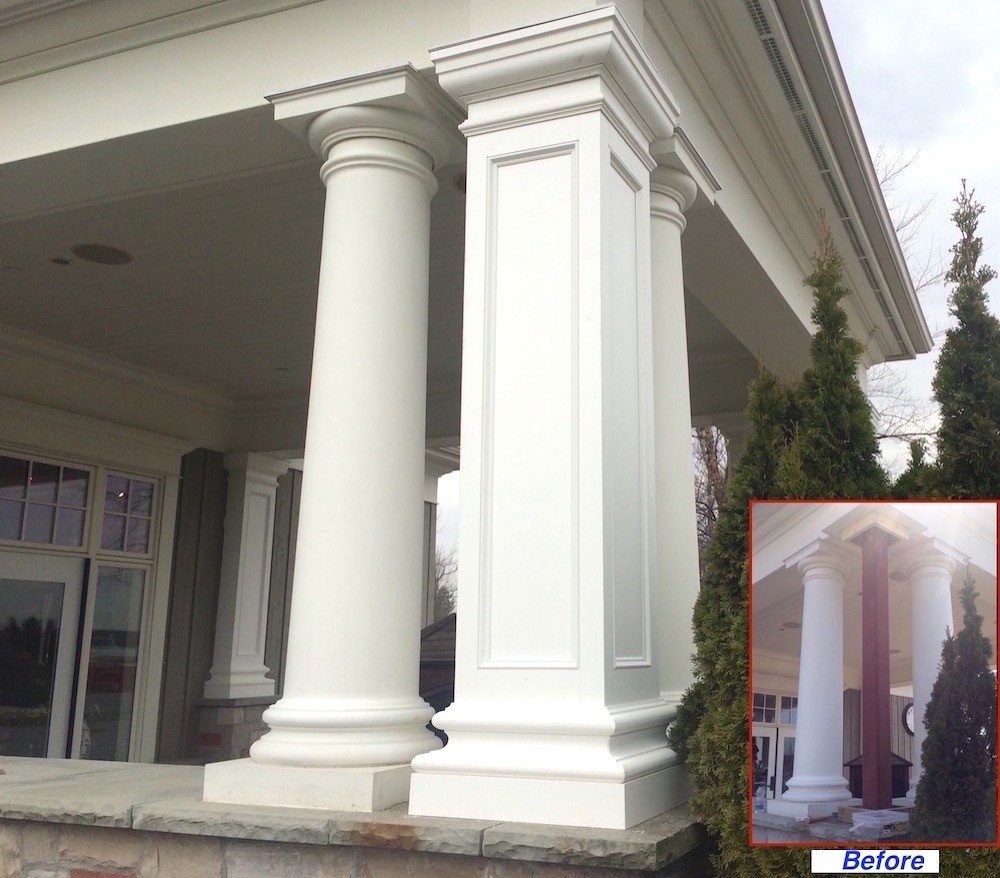 Pvc column wraps column covers post covers i elite for Columns for house exterior