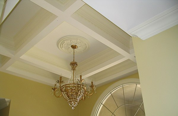 Beamed Ceiling Shown At Different Stages Of