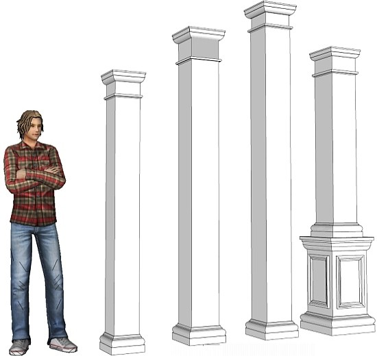Non tapered pvc column drawings i elite trimworks for Tapered columns