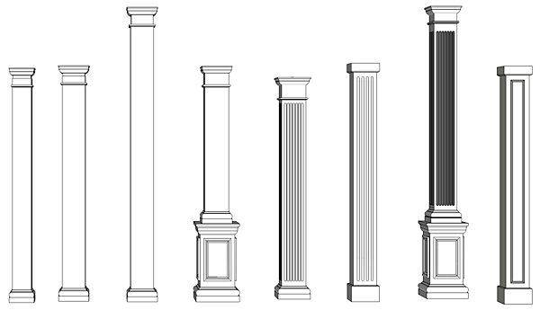 Simple Wood Column : Non tapered pvc column drawings i elite trimworks