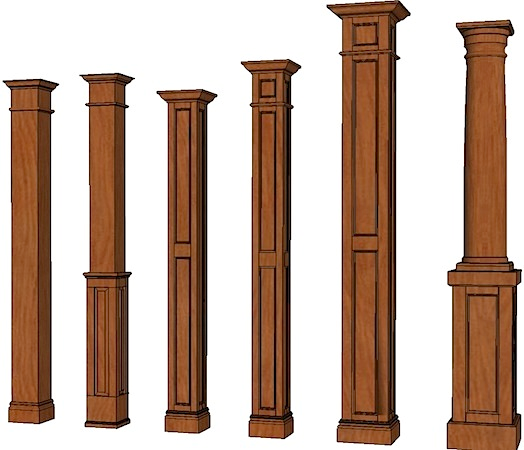 Square House With Columns : Square columns stain grade stainable