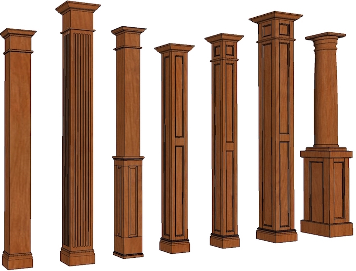 Square Column Trim : Stain grade columns square wood i elite trimworks