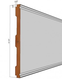 Wainscot Lower X-Rail, 8 ft