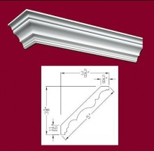 "5"" Polyurethane Smooth Cornice 8ft"