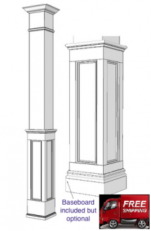 Square, Wood HALF Paneled Column
