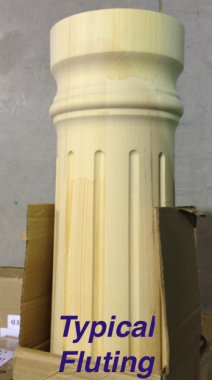 "8"" x 8' Round, Wood, Tapered Fluted Column"