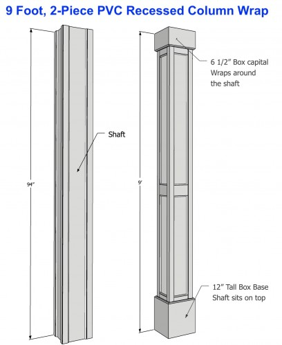 "8"" RECESSED PVC Column Wrap Kit"