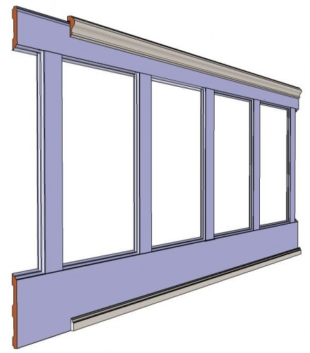 "Recessed, Wall Paneled Wainscot Kit, 38"" High"