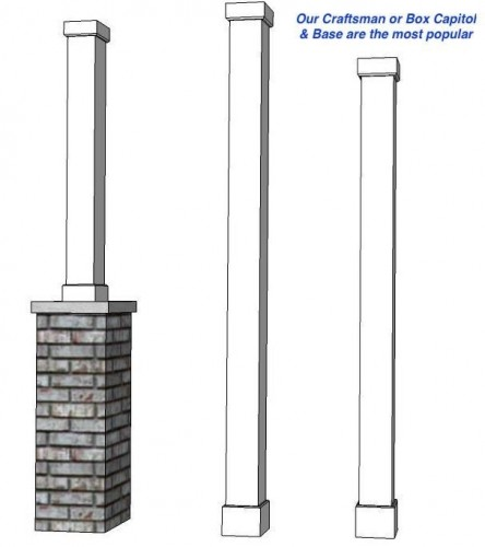 6 square hb g fiberglass non tapered column i elite trimworks for Hb g square columns